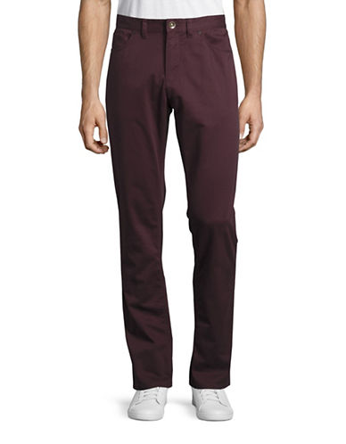 Black Brown 1826 Tailored Fit Twill Pants-MAHOGANY-36X32