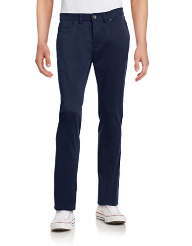 Black Brown 1826 Tailored Fit Twill Pants-DARK NAVY-38X30