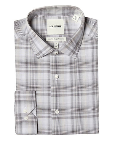 Ben Sherman Slim-Fit Plaid Dress Shirt-BROWN-14-32/33
