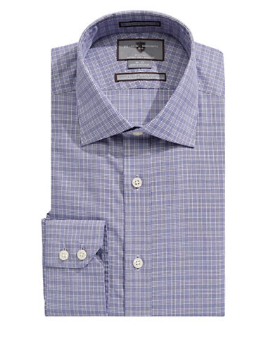 Black Brown 1826 Slim Fit Check Shirt-PURPLE-18.5-34