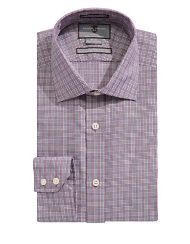 Black Brown 1826 Slim Fit Check Shirt-BERRY-17.5-34
