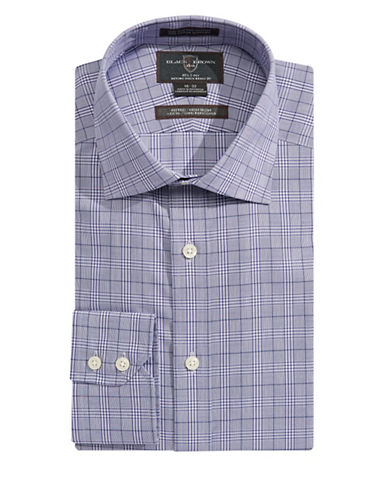 Black Brown 1826 Glen Plaid Fitted Dress Shirt-PURPLE-17.5-33