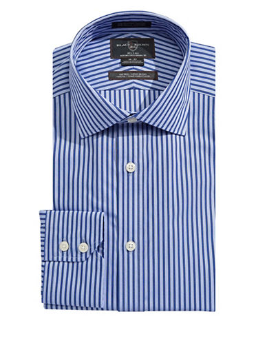 Black Brown 1826 Fitted Striped Dress Shirt-NAVY-17-33