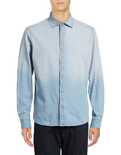 Black Brown 1826 Washed Down Indigo Denim Shirt-OMBRE WASH-Large