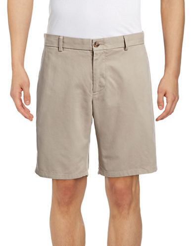 Black Brown 1826 Cotton Twill Shorts-BEIGE-32