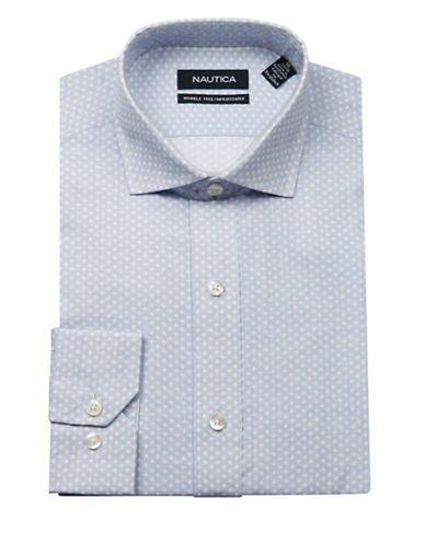 Nautica Geometric Printed Dress Shirt-BLUE-17.5-34/35