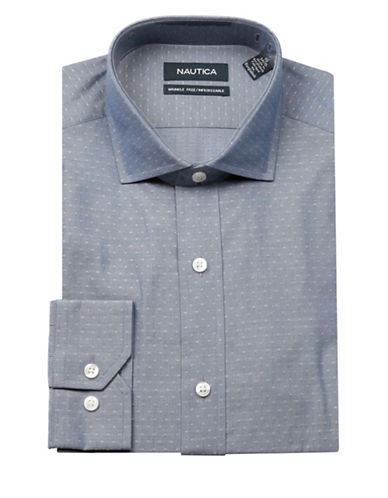 Nautica Dobby Dress Shirt-BLUE-16.5-34/35
