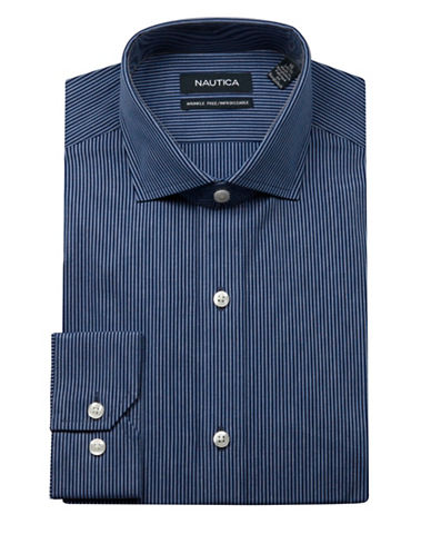 Nautica Striped Dress Shirt-NAVY-16.5-32/33