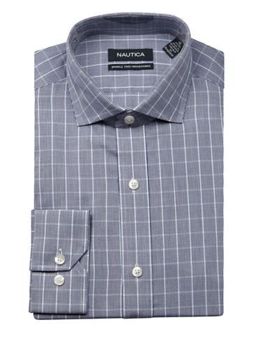 Nautica Plaid Twill Wrinkle Free Slim Fit Dress Shirt-NAVY-15.5-34/35