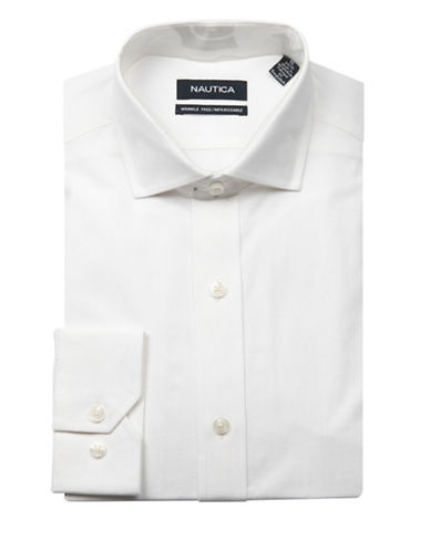 Nautica Textured Wrinkle Free Slim Fit Dress Shirt-WHITE-17.5-34/35