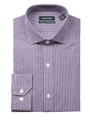 Nautica Checkered Wrinkle Free Slim Fit Dress Shirt-PURPLE-17.5-32/33