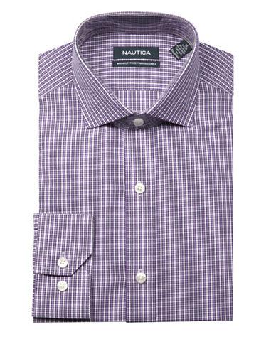 Nautica Checkered Wrinkle Free Slim Fit Dress Shirt-PURPLE-17-34/35