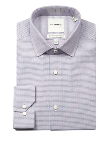 Ben Sherman Wrinkle-Free Multi-Textured Sport Shirt-MULTI-16.5-34/35