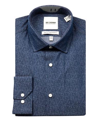 Ben Sherman Wrinkle-Free Paisley-Printed Sport Shirt-NAVY-15.5-32/33
