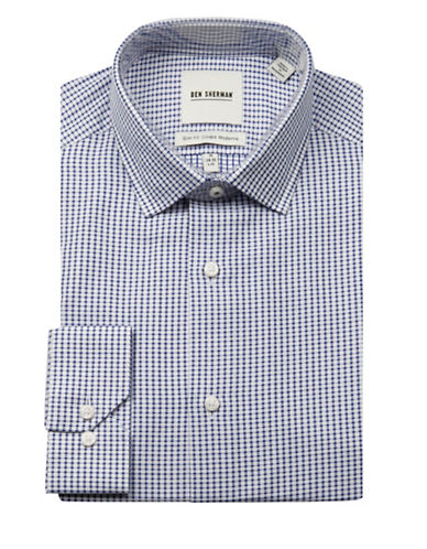 Ben Sherman Wrinkle-Free Diamond Check Sport Shirt-BLUE-16.5-34/35