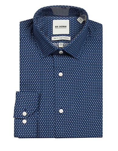 Ben Sherman Wrinkle-Free Floral-Printed Sport Shirt-NAVY-16.5-34/35