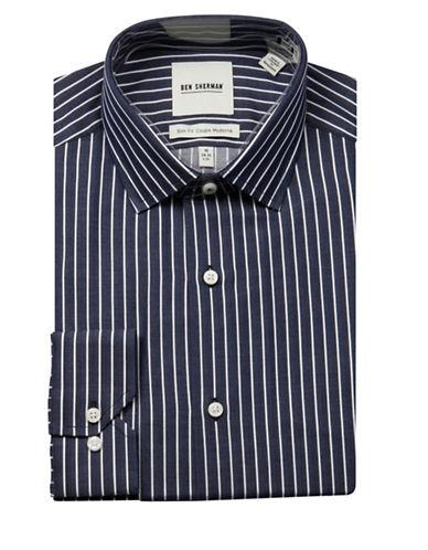 Ben Sherman Herringbone Wrinkle Free Slim Fit Dress Shirt-NAVY-15-34/35