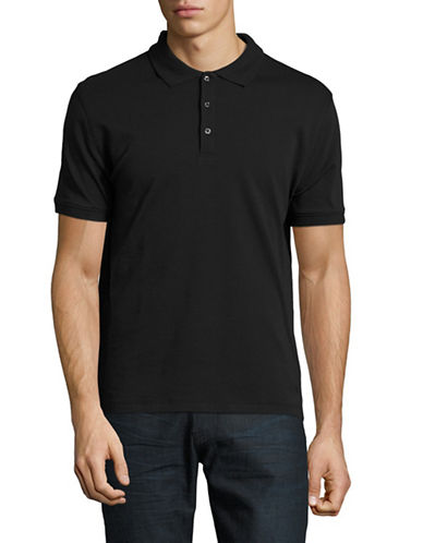 Black Brown 1826 Solid Egyptian Cotton Polo-BLACK-Medium