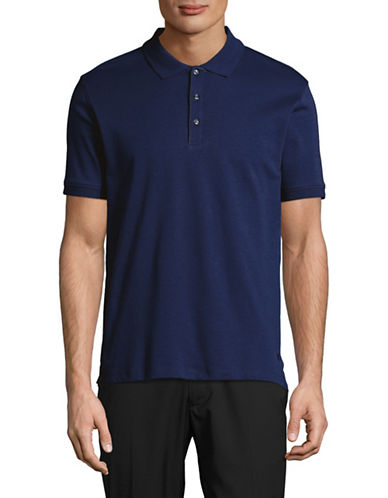 Black Brown 1826 Solid Egyptian Cotton Polo-TRUE NAVY-X-Large
