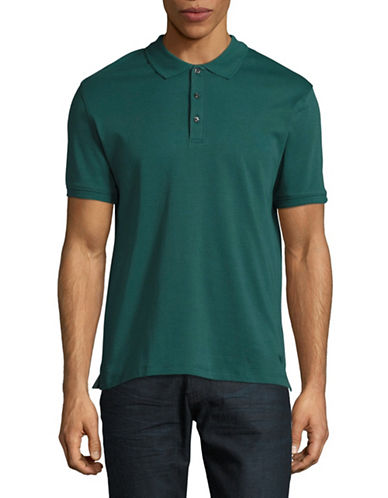 Black Brown 1826 Solid Egyptian Cotton Polo-HUNTER GREEN-Large
