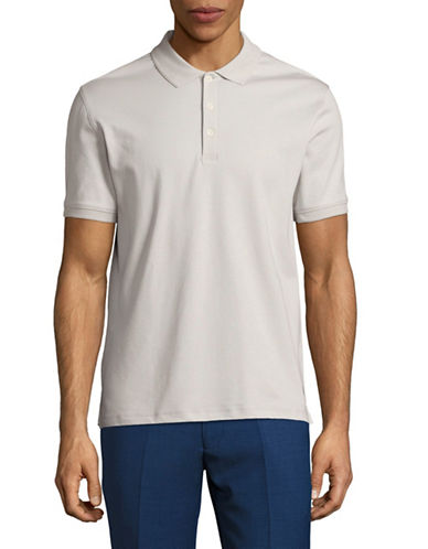 Black Brown 1826 Solid Egyptian Cotton Polo-GREY-Large