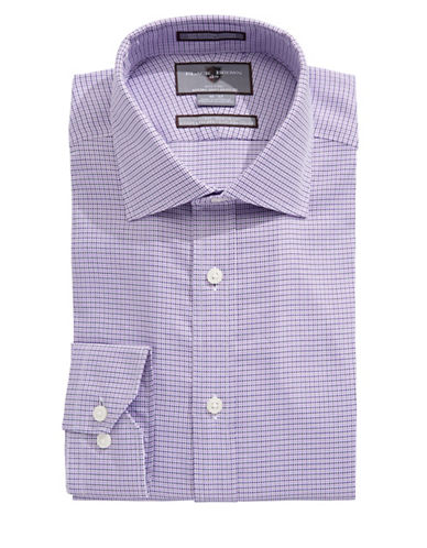 Black Brown 1826 Hounds tooth Slim Fit Shirt-PURPLE-18.5-34