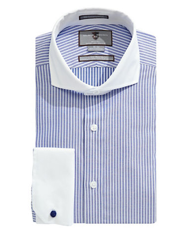 Black Brown 1826 Slim-Fit Textured Stripe Banker Shirt-BLUE-16.5-32