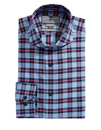 Black Brown 1826 Slim Fit Plaid Sport Shirt-NAVY-17.5-33