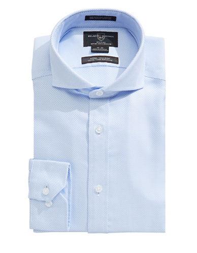 Black Brown 1826 Slim Checkered Weave Shirt-BLUE-17.5-34