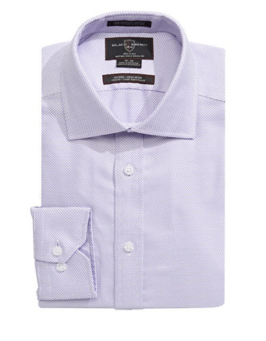Black Brown 1826 Fitted Checkered Weave Dress Shirt-PURPLE-16-32