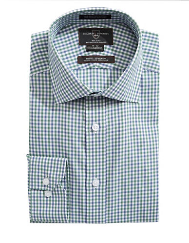 Black Brown 1826 Fitted Long Sleeve Check Shirt-LIME/BLUE-18.5-34