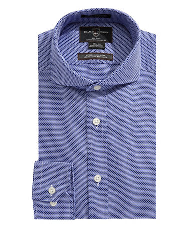 Black Brown 1826 Fitted Grid Sport Shirt-NAVY-17-33