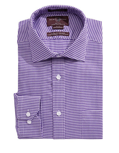 Black Brown 1826 Classic Fit Fancy Check Dress Shirt-PURPLE-15-32