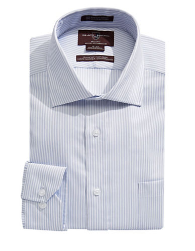 Black Brown 1826 Classic Stripe Dress Shirt-GREY-16-35