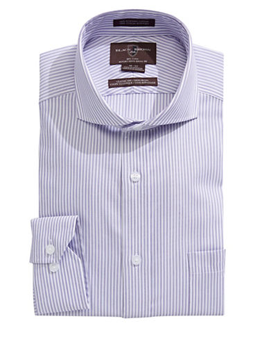Black Brown 1826 Classic Stripe Dress Shirt-PURPLE-15-34