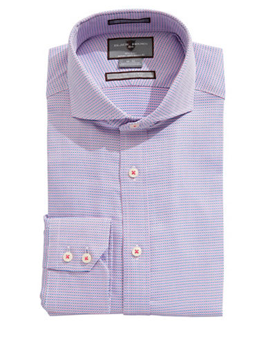 Black Brown 1826 Slim Fit Micro Pattern Dress Shirt-NAVY/PINK-15-32