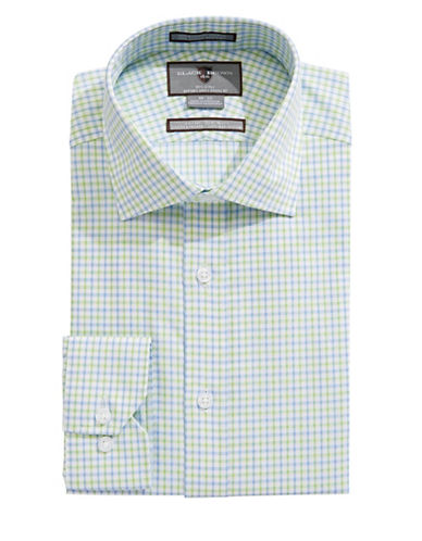 Black Brown 1826 Slim Fit Check Cotton Dress Shirt-LIME/BLUE-16-35
