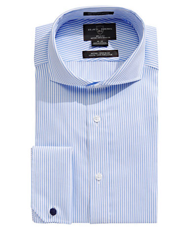 Black Brown 1826 Fitted Stripe Long Sleeve Dress Shirt-BLUE-16.5-32