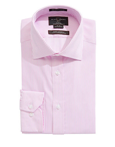 Black Brown 1826 Fitted Stripe Long Sleeve Dress Shirt-PINK-15-34