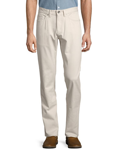 Black Brown 1826 Tailored Fit Twill Pants-WHITE-36X30