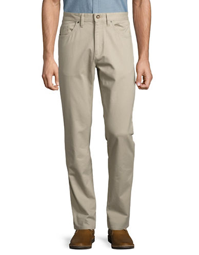 Black Brown 1826 Tailored Fit Twill Pants-TAN-34X32