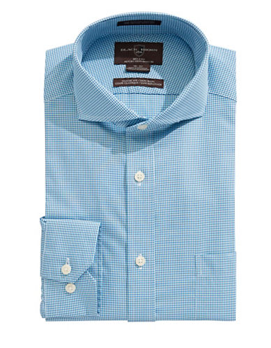 Black Brown 1826 Classic Fit Micro Check Dress Shirt-TEAL-15-32