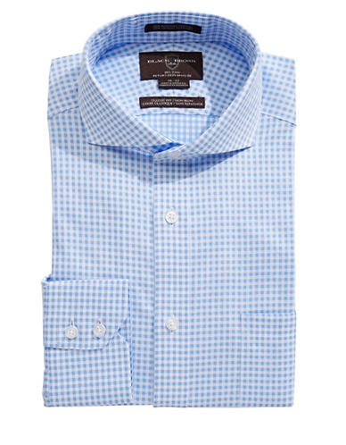Black Brown 1826 Classic Fit Dobby Gingham Dress Shirt-BLUE-17-36