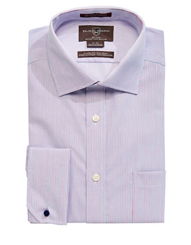 Black Brown 1826 Classic Fit Cotton Stripe Dress Shirt-PINK-17.5-33
