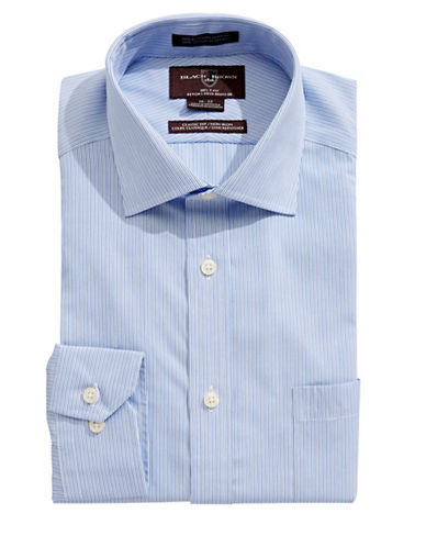 Black Brown 1826 Classic Fit Cotton Stripe Dress Shirt-BLUE-17-34
