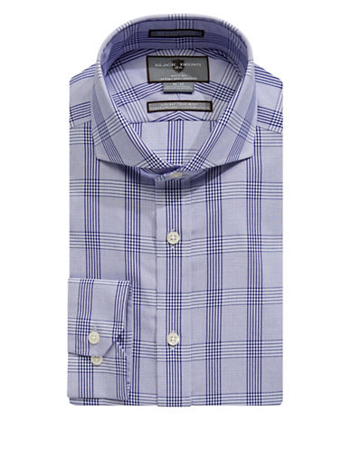 Black Brown 1826 Non-Iron Slim Fit Tonal Plaid Dress Shirt-NAVY-16-32