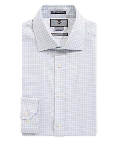 Black Brown 1826 Non-Iron Slim Fit Dobby Check Dress Shirt-GREY-17-33