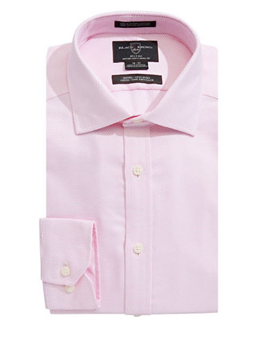 Black Brown 1826 Fitted Pin Dot Dress Shirt-PINK-18-35