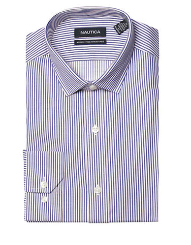 Nautica Striped Wrinkle Free Slim Fit Dress Shirt-NAVY-17.5-34/35