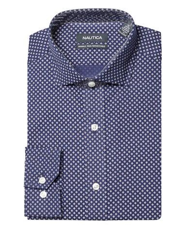Nautica Printed Wrinkle Free Slim Fit Dress Shirt-NAVY-16.5-34/35